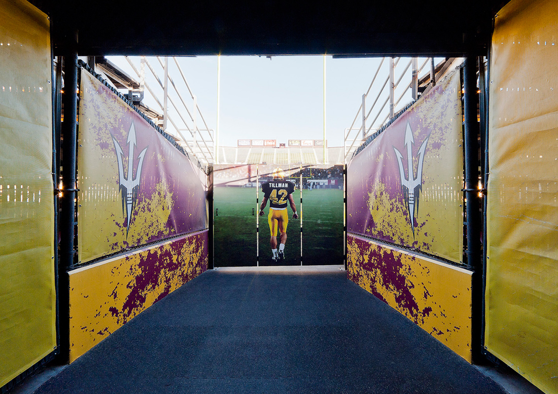 Arizona State University graphics, supergraphics tempe, athletic graphics phoenix, sports graphics arizona, sports graphics arizona state university, tillman tunnel, football stadium graphics, stadium graphics phoenix, graphic design phoenix, graphic design arizona, experiential design phoenix, canary studio, gould evans, tillman phoenix, tillman arizona, sundevil football, sundevil stadium, sundevil athletics, patt tillman