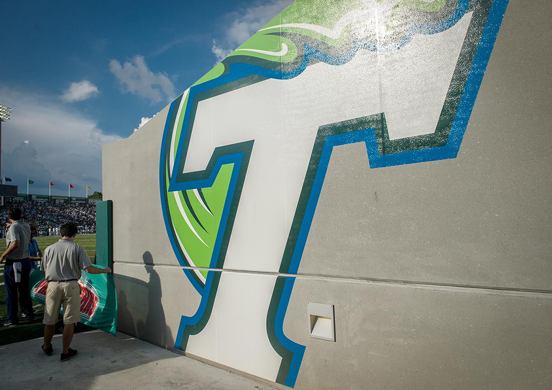 Tulane University, graphics, supergraphics tulane, athletic graphics new orleans, sports graphics new orleans, sports graphics tulane university, yulman stadium, football stadium graphics, stadium graphics new orleans, graphic design tulane, graphic design new orleans, experiential design tulane, canary studio, gould evans, yulman graphics, new orleans, riptide football, tulane stadium, riptide athletics, yulman
